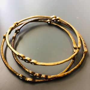 Jewelry - Crystal Accented Bronze Bangle Bracelets -Set of 3